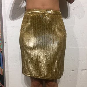 Vintage inc gold beaded beads skirt cocktail 2p